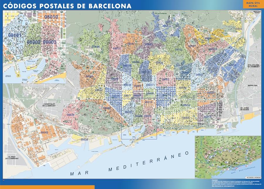mapa Barcelona Codigos Postales