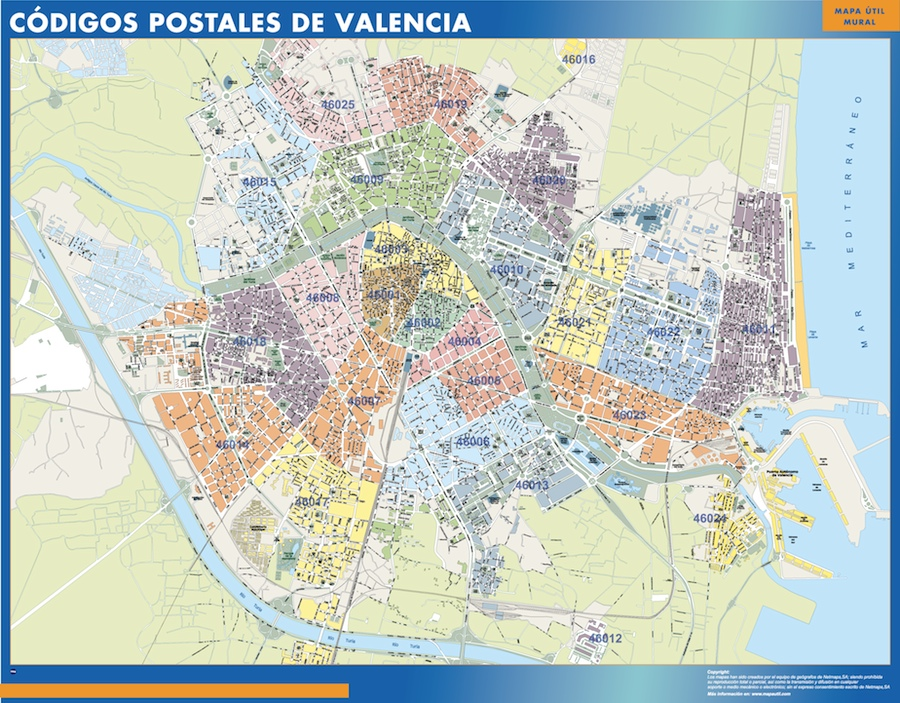 mapa códigos postales Valencia