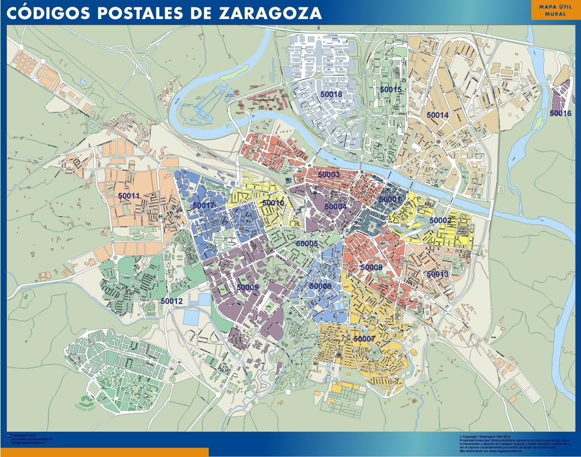 Mapa Gigante Codigos Postales De Zaragoza
